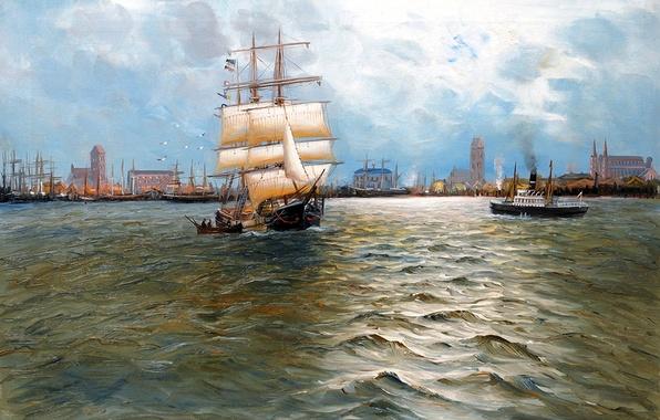 Картинка море, небо, пейзаж, город, корабль, парусник, картина, порт, пароход, Alfred Jansen