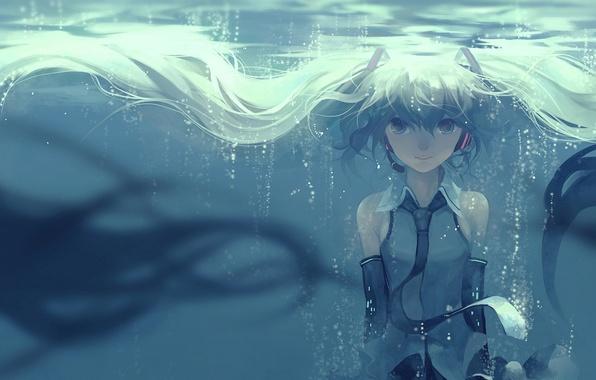 Картинка девушка, улыбка, пузыри, аниме, арт, микрофон, vocaloid, hatsune miku, под водой, hanyijie