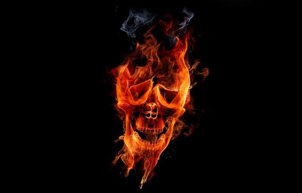 Картинка огонь, Череп, fire, skull, flame