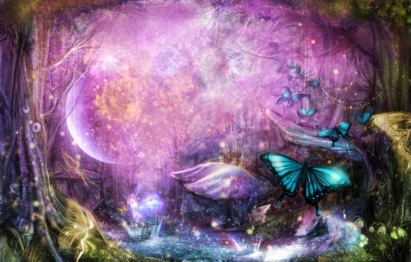 Картинка лес, деревья, бабочки, Арт, art