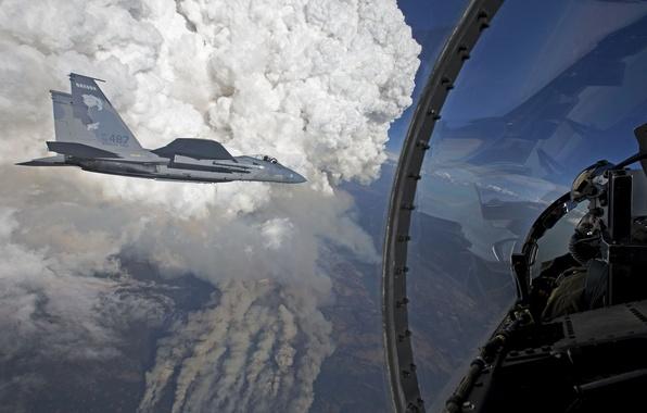 Картинка полет, истребители, кабина, пилот, Eagle, F-15, «Игл»