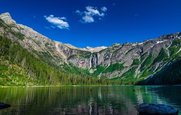 Картинка горы, природа, озеро, nature, avalanche lake