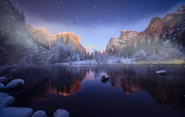 Фото обои зима, горы, река, снег
