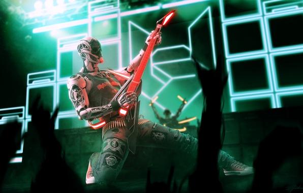 Картинка музыка, гитара, робот, концерт, Marco Plouffe, Rockerbot