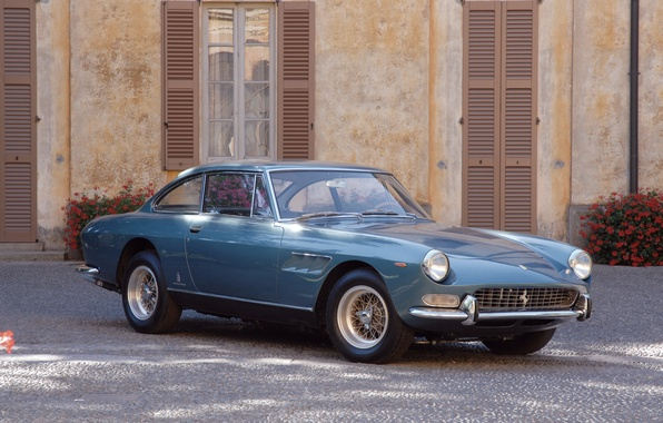 Картинка Синий, Ретро, Брусчатка, Ferrari, 330