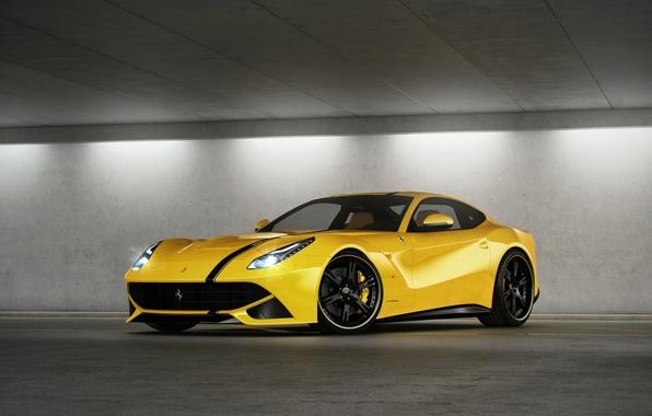 Картинка жёлтый, парковка, ferrari, феррари, yellow, свет фар, F12 berlinetta, ф12 берлинетта