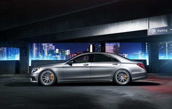 Картинка Mercedes-Benz, night, parking, profile, S63