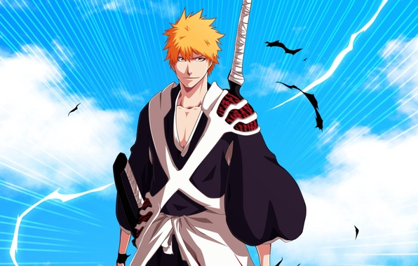 Картинка взгляд, меч, аниме, парень, bleach, блондин, shinigami