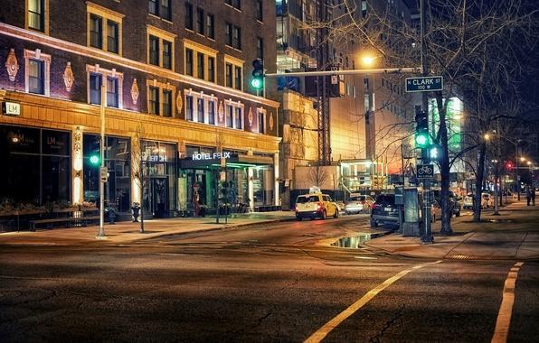 Картинка дорога, свет, машины, ночь, город, люди, улица, здания, дома, освещение, светофор, Чикаго, USA, США, Иллинойс, …