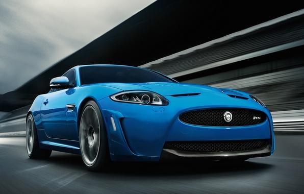 Картинка Дорога, Синий, Машина, Ягуар, Движение, Car, Автомобиль, Blue, Jaguar XKR-S
