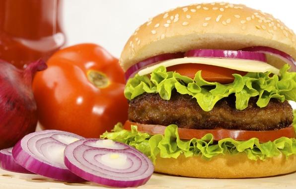 Картинка сыр, лук, помидоры, гамбургер, котлета, булка, фаст фуд, листья салата, fast food, hamburger