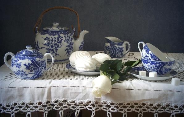 Картинка роза, чайник, чашки, посуда, сахар, натюрморт, зефир