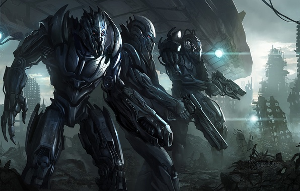 Картинка оружие, игра, графика, нло, разрушения, арт, солдаты, броня, game, пришельцы, экипировка, eclipse, инопланетяне, . вторжение, …