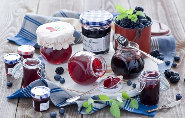 Картинка ягоды, черника, баночки, посуда, банки, ежевика, джем, варенье, ложки, Anna Verdina