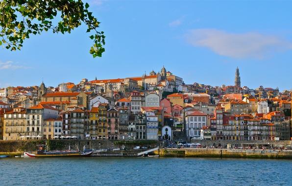 Картинка река, здания, Португалия, набережная, Portugal, Vila Nova de Gaia, Porto, Порту, Вила-Нова-ди-Гая, река Дору, Douro …