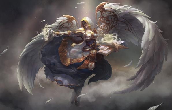 Картинка девушка, магия, дым, крылья, перья, арт, капюшон, книга, эльфийка, wow, world of warcraft, Blood Elf, …