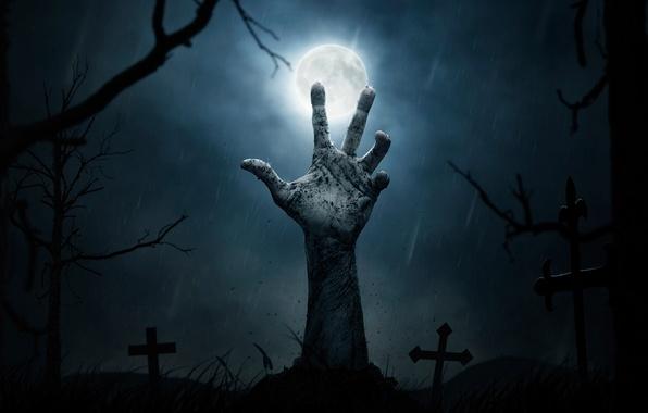 Картинка ночь, луна, кресты, могилы, рука, кладбище, Halloween, ужас, погост, на свободу