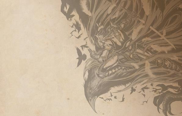 Картинка sword, birds, eagle, textures, painting, warrior