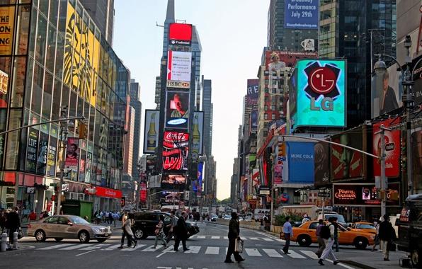 Картинка небоскребы, нью, йорк, таймс, сквер