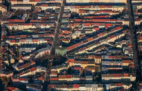 Картинка улица, дома, Германия, Мюнхен, Бавария, площадь, панорама, квартал