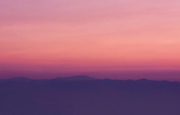 Картинка небо, пейзаж, закат, горы, холмы, дымка, сумерки