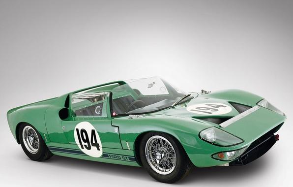 Картинка Roadster, Ford, Prototype, 1965, Классическое авто, V8 4, Linden Green, GT/111, Ford Advanced Vehicle Operations, …