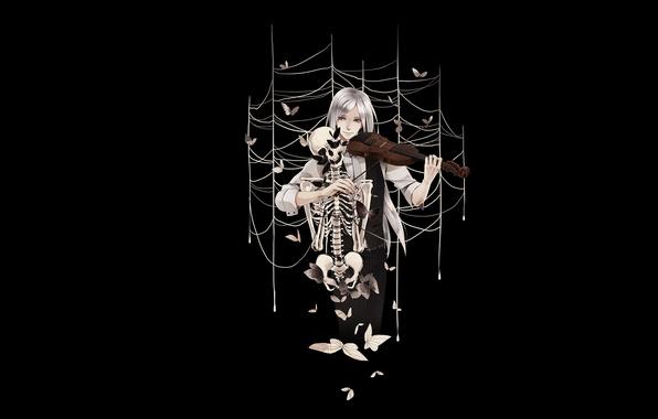 Картинка бабочки, скрипка, паутина, скелет, Парень, черный фон