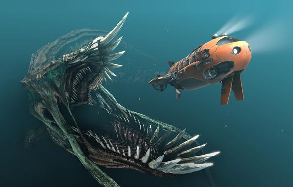 Картинка корабль, монстр, погоня, арт, пасть, фонари, субмарина, клыки, под водой