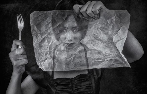 Картинка девушка, бумага, вилка, калька