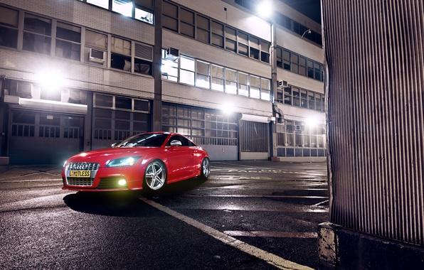 Картинка Audi, Red, Glow, Lights, Night, Tuning, Wheels, Garage