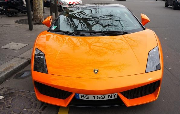 Картинка город, отражение, Lamborghini, Orange, Gallardo, supercar, передок