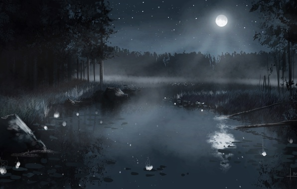 Картинка лес, небо, звезды, деревья, пейзаж, ночь, природа, туман, озеро, камыши, луна, рисунок, арт