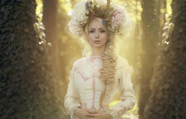 Картинка девушка, пейзаж, цветы, природа, кукла, платье, венок, photo by Katerina Plotnikova, Лукьянова