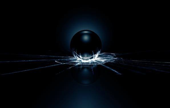 Фото обои стекло, свет, трещины, шар