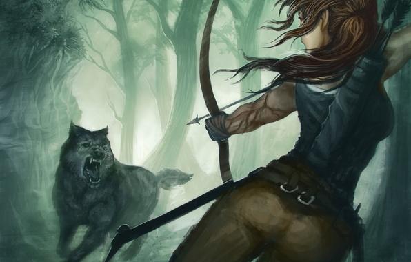 Картинка девушка, игра, волк, хищник, лук, арт, пасть, Tomb Raider, лара крофт