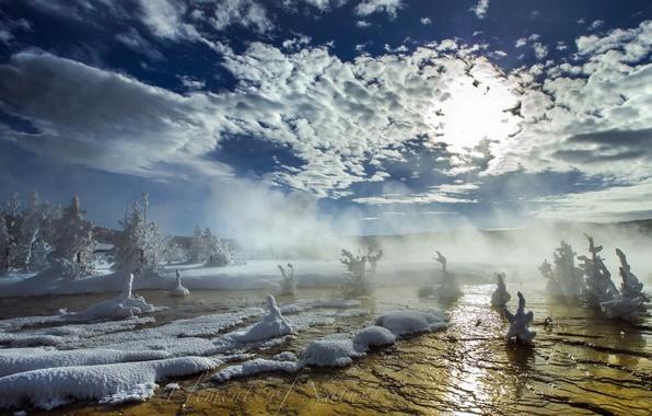 Картинка снег, пейзаж, природа, туман, река, утро