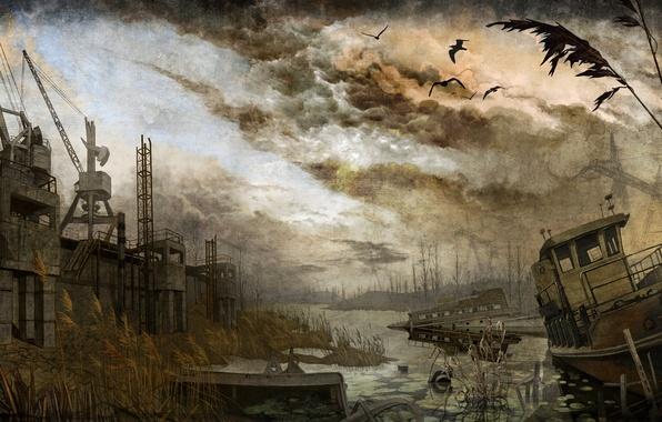 Картинка корабли, панорама, stalker, сталкер