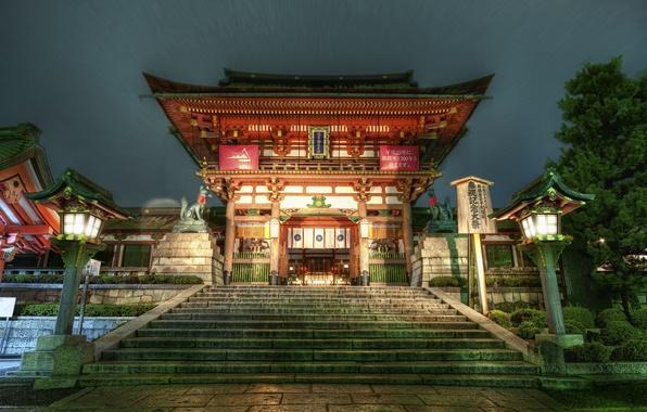 Картинка япония, фонари, храм