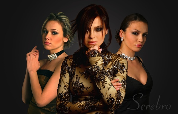 Картинка девушки, группа, Серебро, черный фон, прически, музыкальная, платья, Serebro, нарядные, исполнительницы