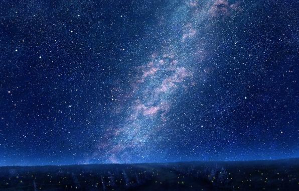 Картинка лес, небо, звезды, деревья, ночь, природа, огни, арт, mks