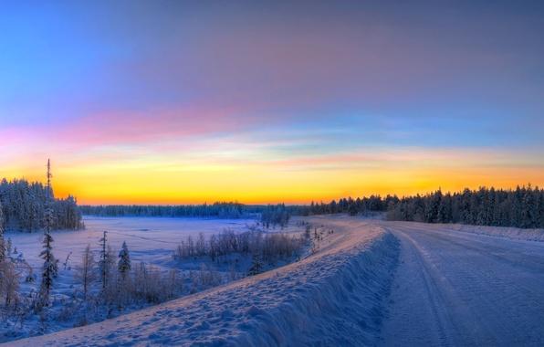 Картинка зима, дорога, небо, снег, деревья, закат, ель, hdr