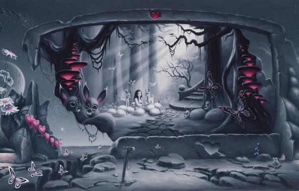 Картинка животные, бабочки, цветы, камни, креатив, сюрреализм, грибы, ромашки, арт, девочка, ступени, разбитое сердце