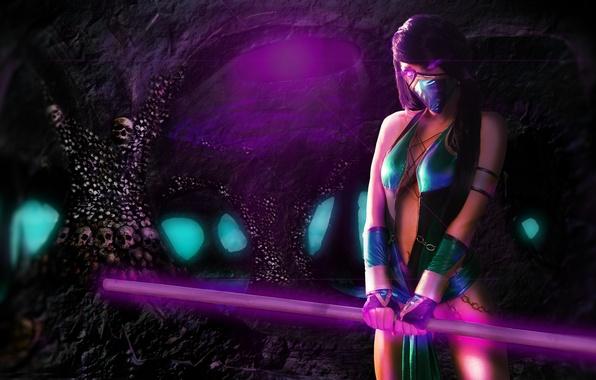 Картинка взгляд, девушка, оружие, игра, арт, черепа, Mortal Kombat, Jade