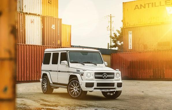Картинка Белый, Тюнинг, Mercedes, Диски, Гелик, G63, MC Customs Vellano