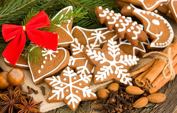 Картинка звезды, снежинки, стол, сердце, ель, ветка, месяц, печенье, орехи, корица, бант, фигурки, десерт, гвоздика, выпечка, …