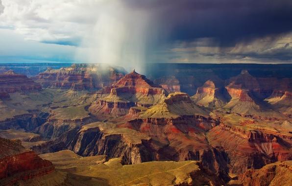 Картинка небо, облака, тучи, дождь, скалы, США, Национальный парк Гранд-Каньон