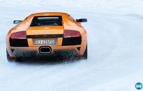 Картинка зима, дорога, снег, оранжевый, Lamborghini, суперкар, вид сзади, Murcielago, top gear, ламборгини, высшая передача, топ ...