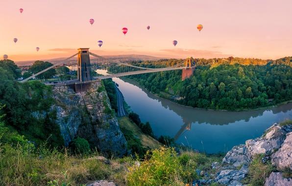 Картинка лес, небо, деревья, мост, воздушный шар, река, скалы