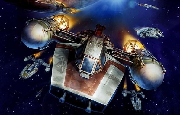 Картинка Star Wars, Space, Art, Starfighter, Y-Wing, Millennium Falcon