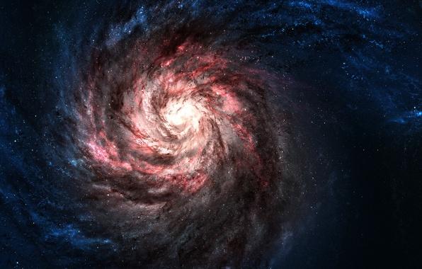 Картинка Звезды, Red, Галактики, Galaxies, Blue